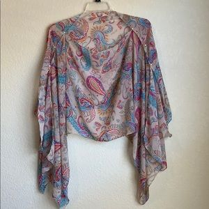 Paisley Multicolored Poncho Scarf Blouse